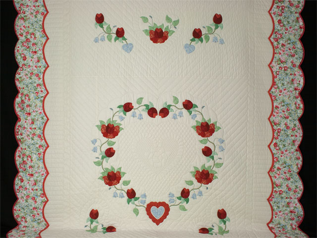 Heart of Roses Quilt in King Coral, paprika, blue and green on ivory Photo 2