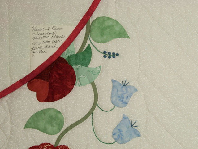 Heart of Roses Quilt in King Coral, paprika, blue and green on ivory Photo 6