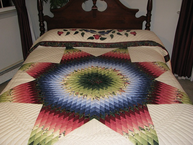King Green, Blue, Red Lone Star Quilt Photo 1