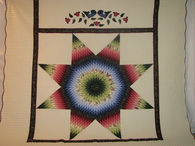 King Green, Blue, Red Lone Star Quilt Photo 2