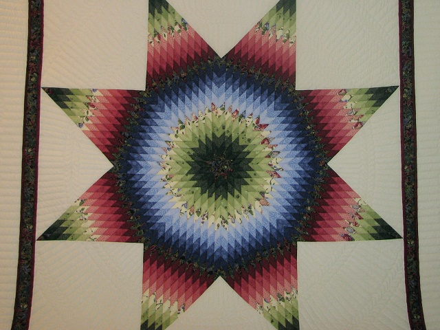 King Green, Blue, Red Lone Star Quilt Photo 3