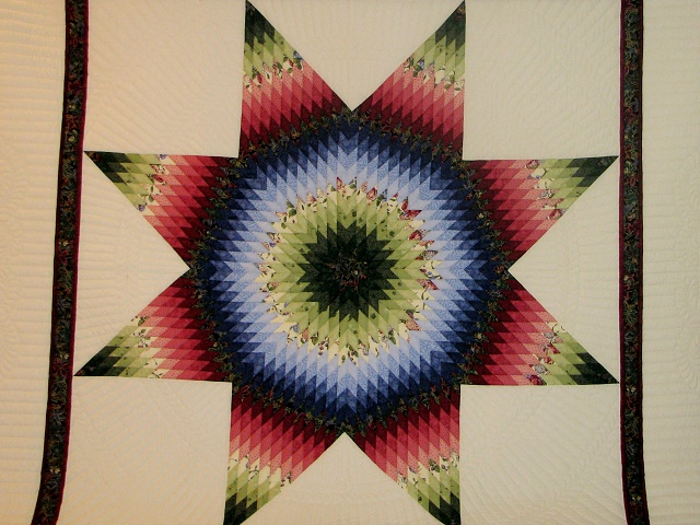 King Green, Blue, Red Lone Star Quilt Photo 8