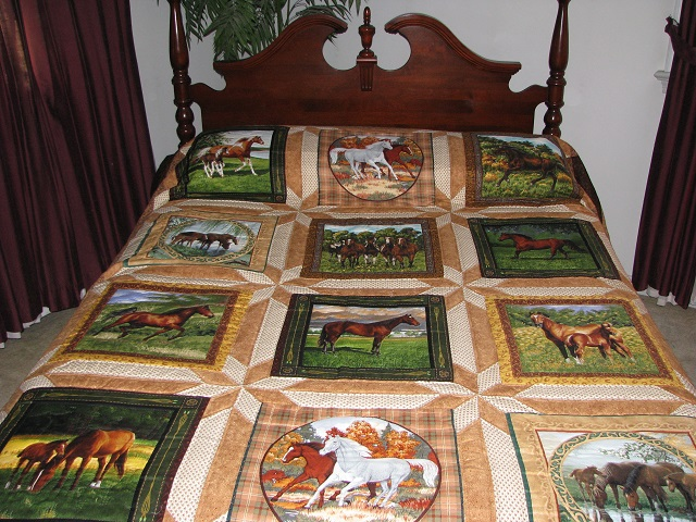 Chestnut Brown Horse Star Quilt Photo 1