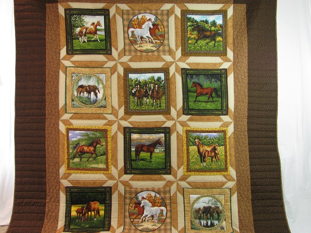 Chestnut Brown Horse Star Quilt Photo 2