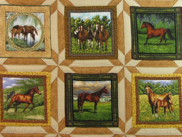 Chestnut Brown Horse Star Quilt Photo 3