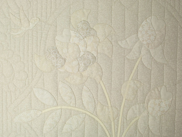 Lancaster Treasure King  Soft Neutrals-Hand Applique, Hand Quilted Photo 4
