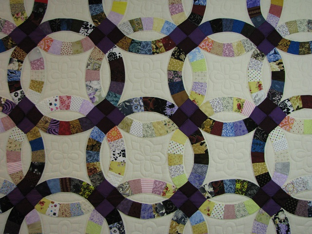Plum Scrappy Double Wedding Ring Quilt Photo 2