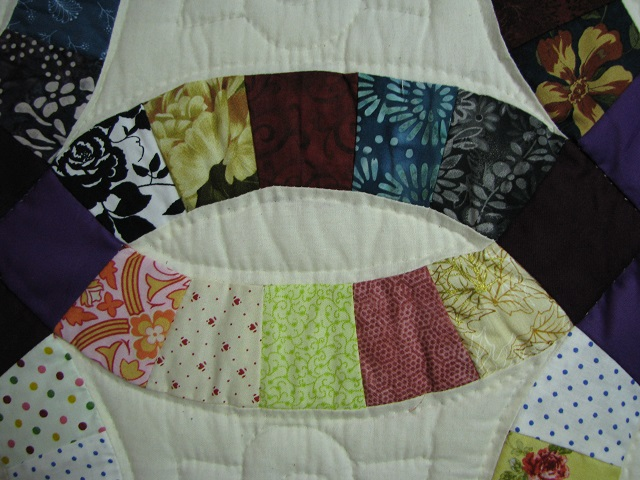 Plum Scrappy Double Wedding Ring Quilt Photo 3