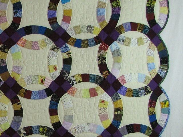 Plum Scrappy Double Wedding Ring Quilt Photo 4