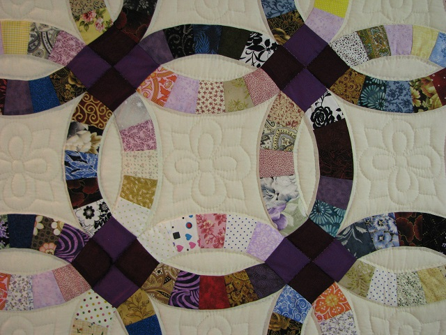 Plum Scrappy Double Wedding Ring Quilt Photo 5
