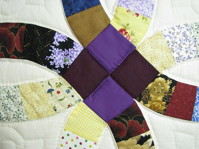 Plum Scrappy Double Wedding Ring Quilt Photo 6