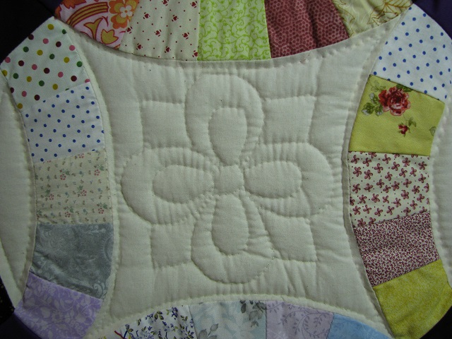 Plum Scrappy Double Wedding Ring Quilt Photo 7