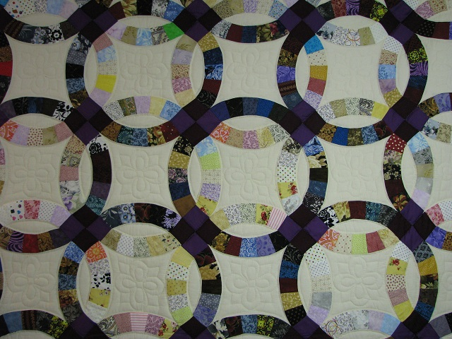 Plum Scrappy Double Wedding Ring Quilt Photo 8