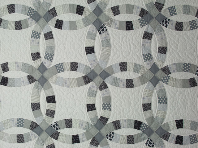 Queen Soft Gray, Slate, Smoke on White  Double Wedding Ring Quilt Photo 4