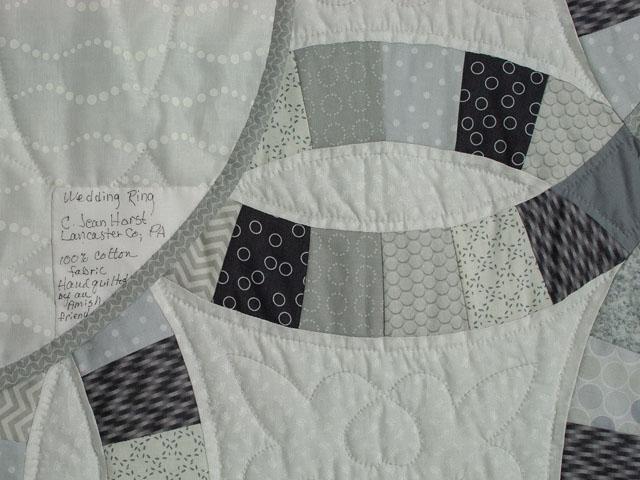 King Size Soft Gray, Slate, Smoke on White  Double Wedding Ring Quilt Photo 6