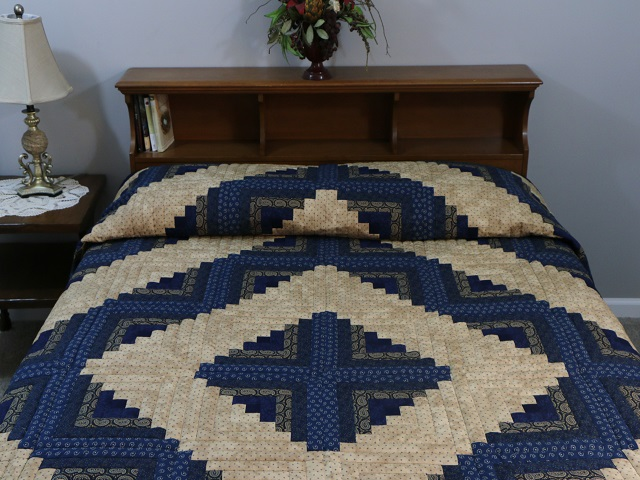 Log Cabin Navy and Tan Quilt Photo 1