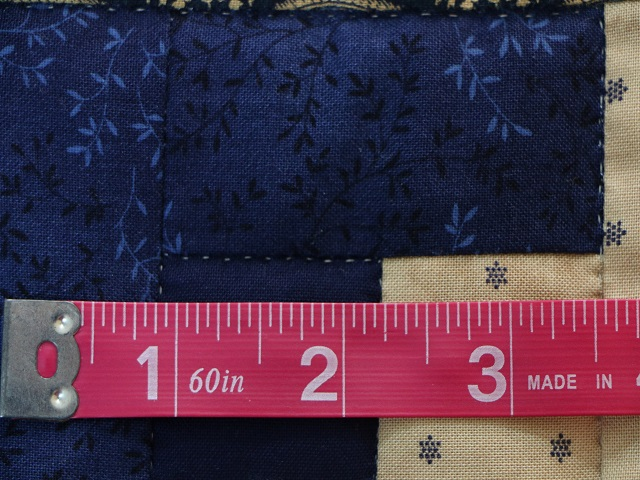 Log Cabin Navy and Tan Quilt Photo 7