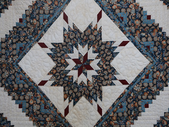 Navy Blue and Burgundy Lone Star Log Cabin Quilt Photo 3