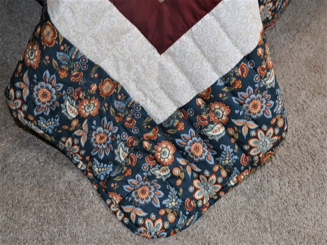 Navy Blue and Burgundy Lone Star Log Cabin Quilt Photo 8