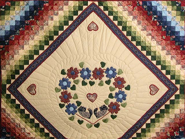 King Blue Rose Tan Sweetheart Sunshine and Shadow Quilt Photo 3