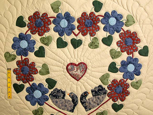 King Blue Rose Tan Sweetheart Sunshine and Shadow Quilt Photo 4