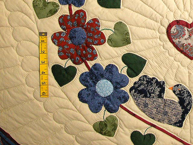 King Blue Rose Tan Sweetheart Sunshine and Shadow Quilt Photo 5