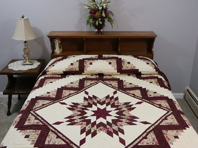 Wine Burgundy Cream Lone Star Log Cabin Photo 1