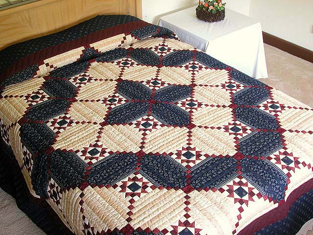 King Navy Burgundy Tans Stars in the Cabin Quilt Photo 1
