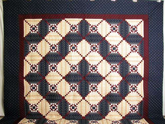 King Navy Burgundy Tans Stars in the Cabin Quilt Photo 2