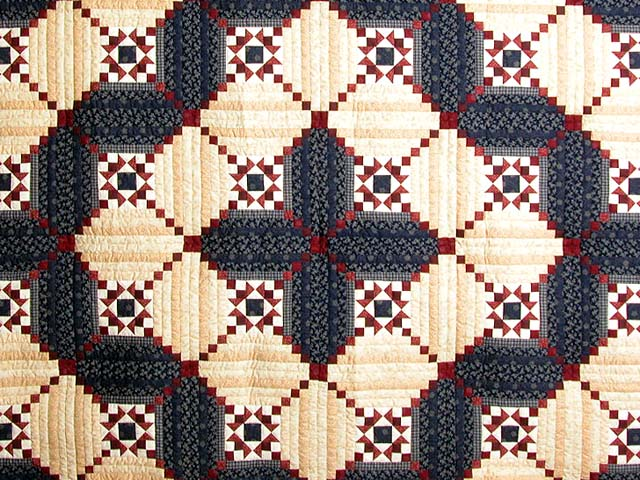 King Navy Burgundy Tans Stars in the Cabin Quilt Photo 3