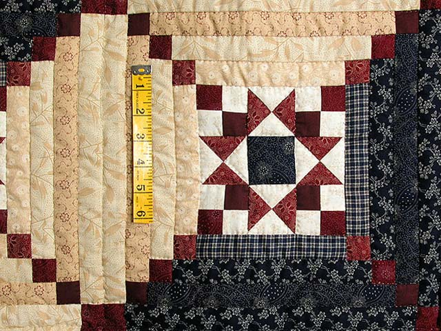 King Navy Burgundy Tans Stars in the Cabin Quilt Photo 4