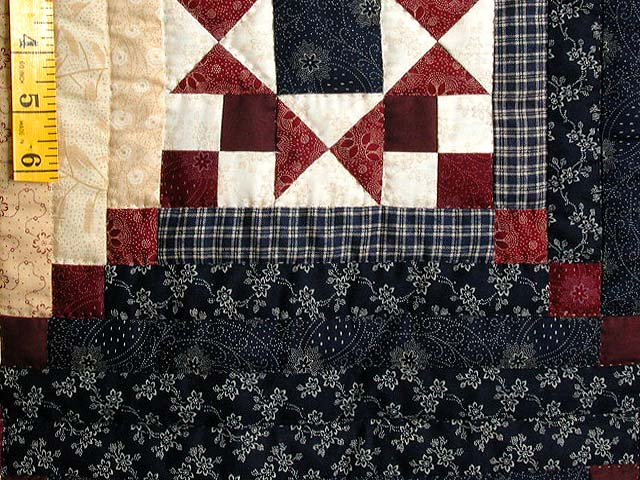 King Navy Burgundy Tans Stars in the Cabin Quilt Photo 6