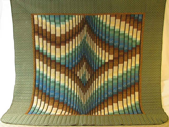 Teal and Brown Rhapsody Song Bargello Quilt Photo 2