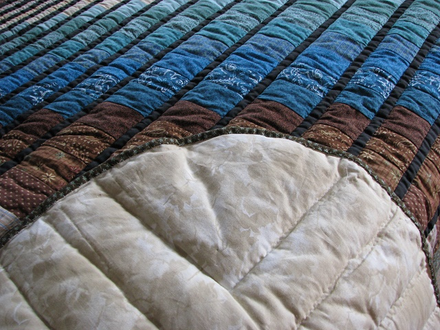 Teal and Brown Rhapsody Song Bargello Quilt Photo 8