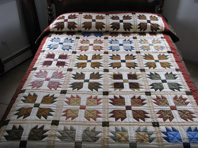 Twin Green and Multi color Bears Paw Quilt Photo 1