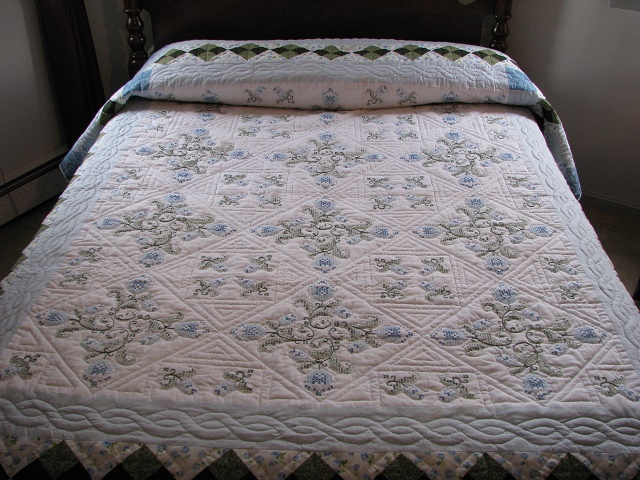 Blue and Green Embroidered Cross Stitch Quilt Photo 1