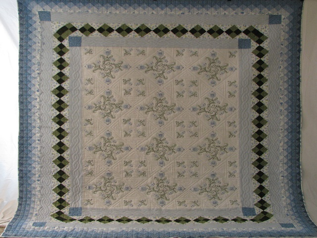 Blue and Green Embroidered Cross Stitch Quilt Photo 2