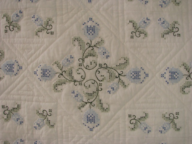 Blue and Green Embroidered Cross Stitch Quilt Photo 3