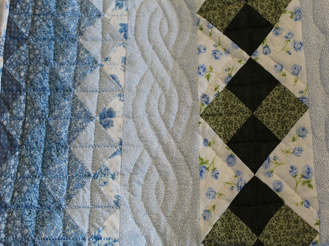 Blue and Green Embroidered Cross Stitch Quilt Photo 4