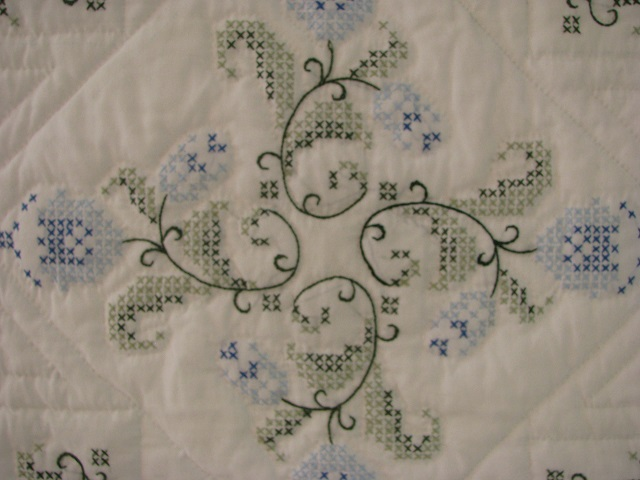 Blue and Green Embroidered Cross Stitch Quilt Photo 5