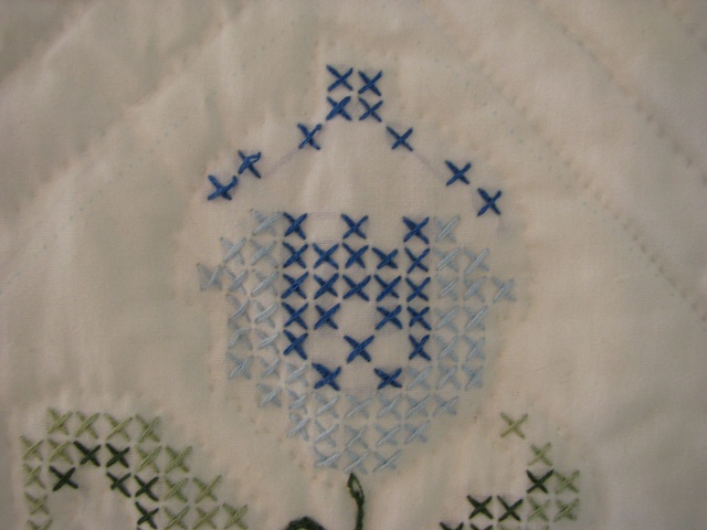 Blue and Green Embroidered Cross Stitch Quilt Photo 6