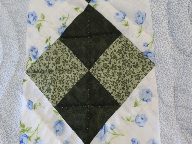 Blue and Green Embroidered Cross Stitch Quilt Photo 7