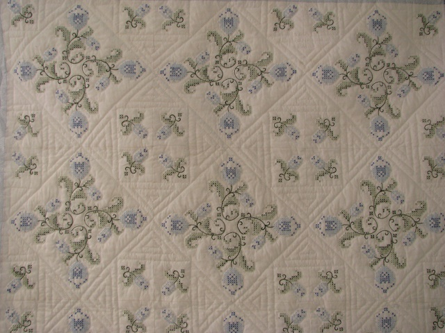 Blue and Green Embroidered Cross Stitch Quilt Photo 8