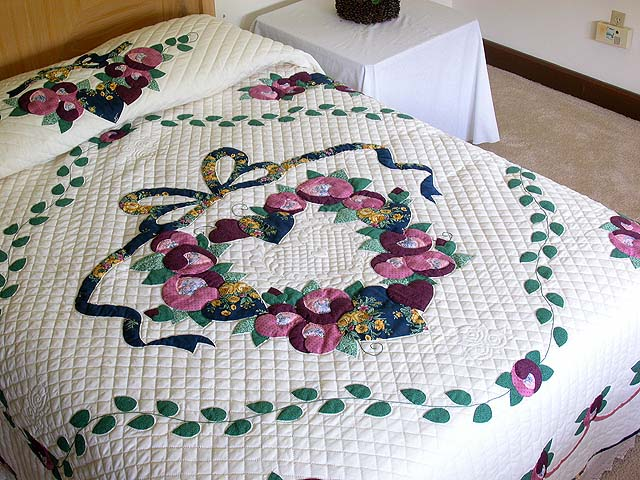 King Blue Gold Rose Country Love Quilt Photo 1