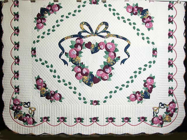 King Blue Gold Rose Country Love Quilt Photo 3