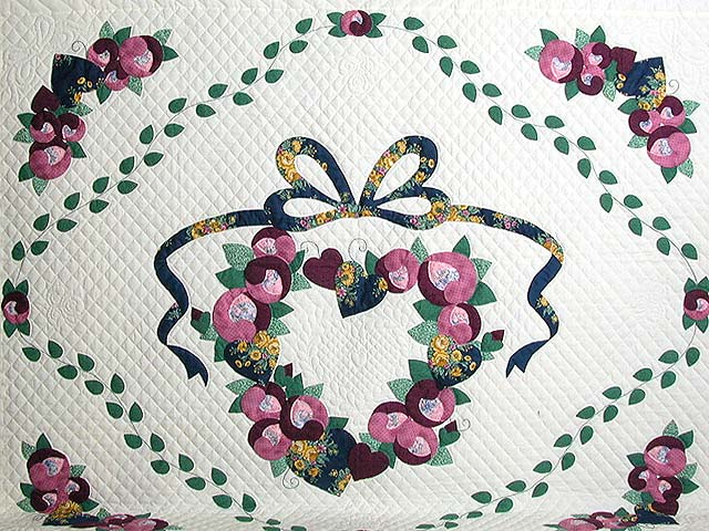 King Blue Gold Rose Country Love Quilt Photo 4