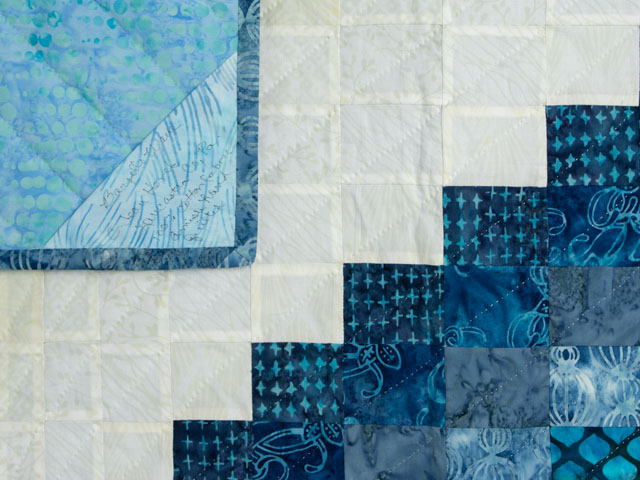Bargello Wave in Striking blues and light sandy and almost white neutrals