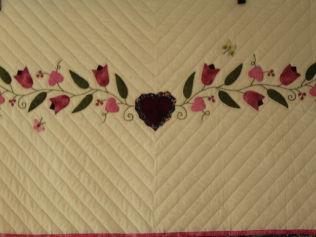 Burgundy and Pink Hearts and Tulips Quilt Photo 2