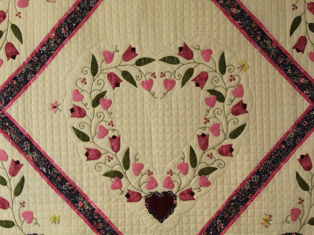 Burgundy and Pink Hearts and Tulips Quilt Photo 3