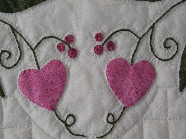Burgundy and Pink Hearts and Tulips Quilt Photo 6